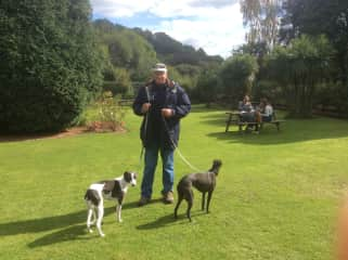 Gerry with two Lurchers. Devon, UK
