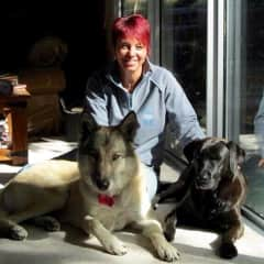 Lorraine with Bella (wolf/dog we had for some time) and Candy