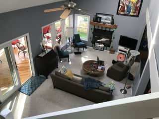 Our vaulted living room, where we spend most of our time