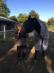 Pam enjoying Truffles during our 2-week horse-sitting adventure in France.