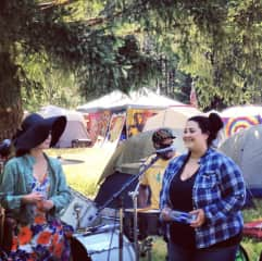 Singing at a festival in Oregon