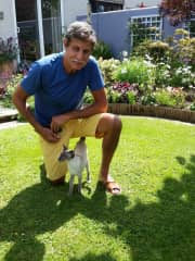 Jeff with a friendly UK Siamese