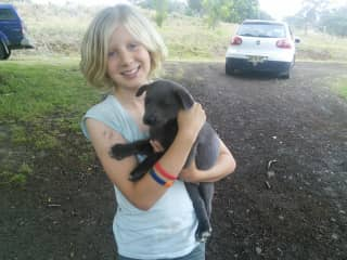 Holly and our new puppy, Pepsi