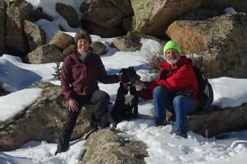 Out for a hike with Pepper in the mountains of Colorado.