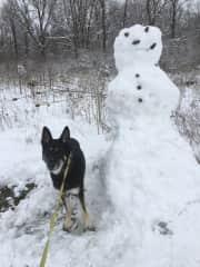 Kemper posing with the snowman ⛄️. He is also a regular