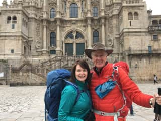 We love walking and completed the Camino Frances 800km pilgrimage from France across northern Spain in October 2018. This is us arriving in Santiago de Compostela.