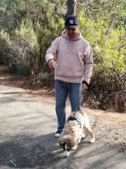 Eddy and Niko out walking near our house.