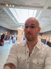 Nathaniel at one of our many museum trips, this is in Los Angeles, Summer 2018.