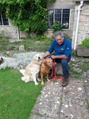 Dotty and Dizzy with Clive in anticipation of yet another walk !!!