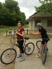 Stopping on the bike trail, taking a pic of the mud on my daughter's back.