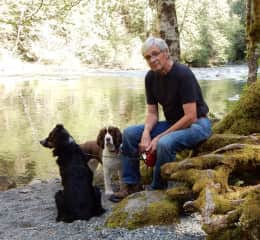 David with our dog Jock and dog-sitting Springer Suzie in Parksville, BC.