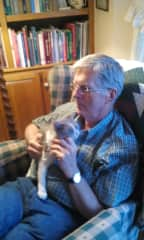 Alan with GrayC, our youngest cat.