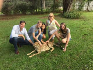 Family portrait with cheetah.