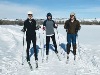 Off on another day of cross-country skiing with Nash's dad