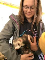Emily handling a ferret