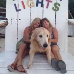 friend, Bailey (golden retriever) and me