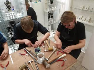 Forrest and Lisa making sterling silver rings, I love creating - art, cooking, writing, you get the idea