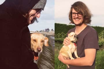 On the left: Sören and Sandy in Norden, Germany.  On the right: Sören and Tizzy in Te Puke, New Zealand