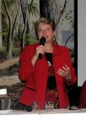 Elaine as guest lecturer in New Zealand as Fulbright Scholar
