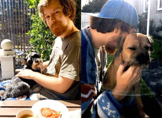 Left: Breakfast with Otis. Right: Dan is Leela's favourite.