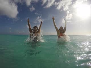 Nicole and Martina playing in the sea.