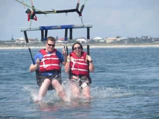 My SO and I parasailing