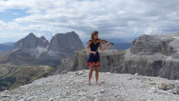 Pola with her violin