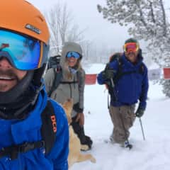 Backcountry skiing with our friends