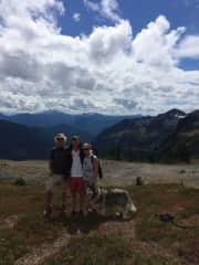 Joan, Paul and son Jordan hiking with our dog, Django.