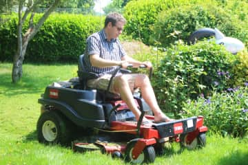 Ian making short work of the lawn mowing
