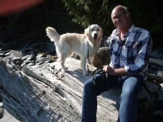 Mike and a Puppy-on-Loan on Vancouver Island, Canada October 2021