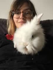 me and Bonie, a really cute little rabbit i petsitted