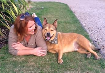 This is me (Belinda) and my happy dog Bodie!