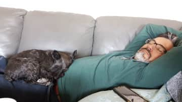 Andrew having a doggie nap with the divine Miss M