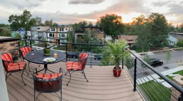 Roof-top west-facing deck at sunset