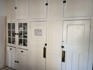 1930s original kitchen cupboards.