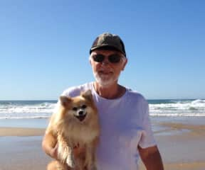 Mamie and me at Coolum Beach