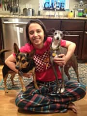 Kim with Roxie and Jesse