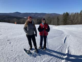 Cross-country skiing with my sister, Julie