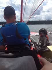 Sailing our Tandem Island with hubby and Molly.