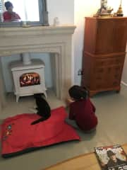 """Our cat sitting """"host"""" and my daughter!"""