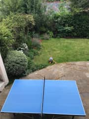Lower terrace and ping pong table.