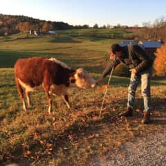 Christian making friends with the locals - Vermont