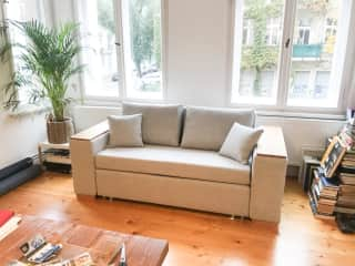 Couch in dining area