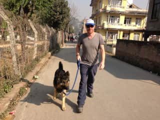 Me and Rambo (shelter dog) out for a walk in Nepal