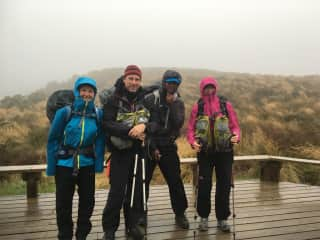 On a wet hike with friends in NZ
