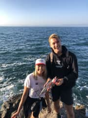Jack and Sydney fishing in Mexico.