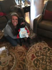 Julie and Grizz trying out his new bib