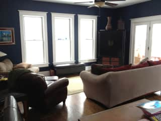 Main floor back family room right off the open kitchen