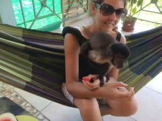 Helene with a rescued monkey